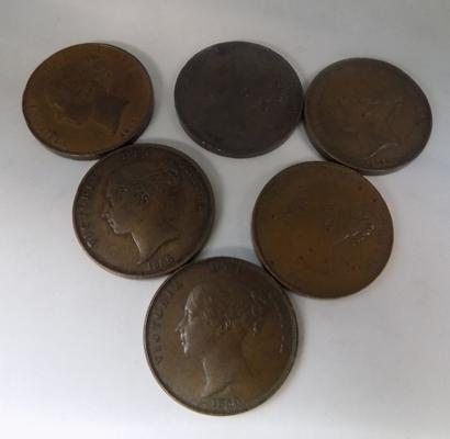 6 x Victoria, large penny coins