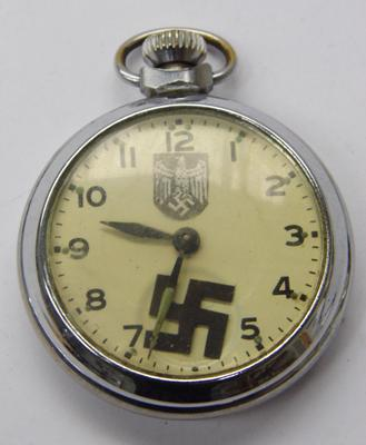 Nazi style pocket watch in working order. Unusual piece with moving Swastika hand