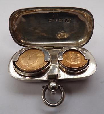 Silver sovereign case - Chester 1908 containing 1897 Victorian full sovereign and 1912 half sovereign - George V.
