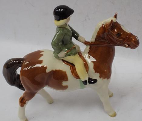 "Beswick Girl on pony Skewbald, Issued 1957-1965. Approx 6"" tall, no damage."