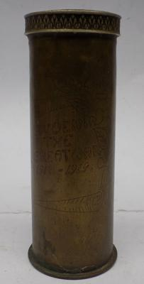 WWI trench art shell with engraving
