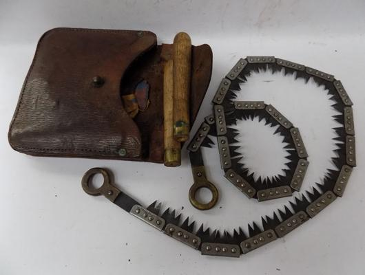 WWI trench saw, marked Francis Wood & Co, Sheffield with leather case