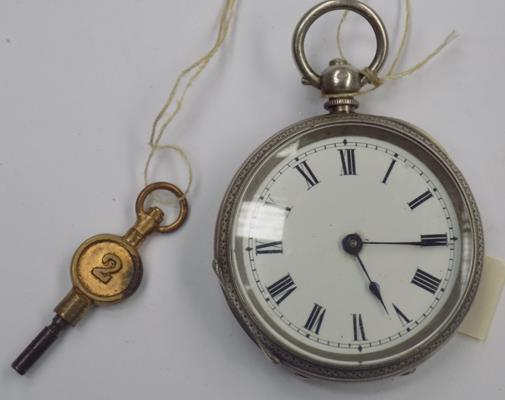 Antique silver hallmarked, key wound pocket watch, London 1929 - G Stockwell & Co