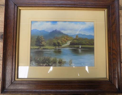 Framed vintage original oil painting by S. Cowgill