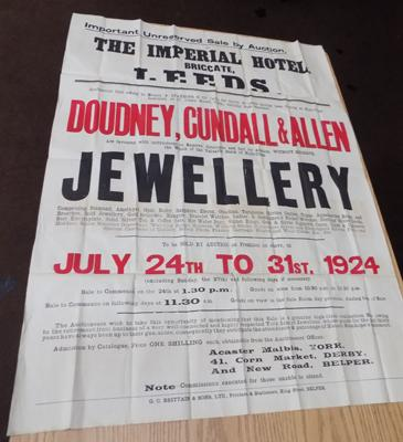 "Jewellery by Auction poster, circa. 1924. 40"" x 30""."