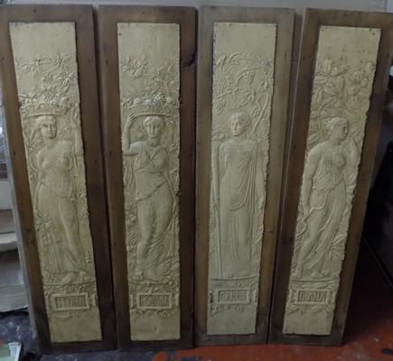 "4 mounted goddess plaques - Flora, Pomona, Ceres and Diana. 38"" tall x 9"" wide each."