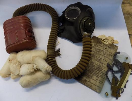 WWII gas mask for military vehicle, bandages and eye shields with original packet