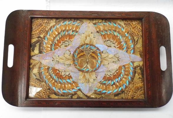 "Victorian iridescent butterfly wings tray. Approx 18"" x 11"""