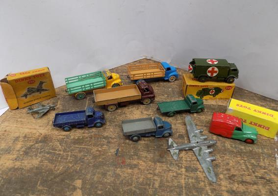 6x Vintage 1950's Dinky commercials + 1 plane, 3 boxed (1 repro box)