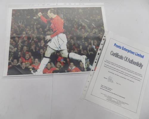Signed Wayne Rooney photograph with certificate of authenticity-dated June 2010