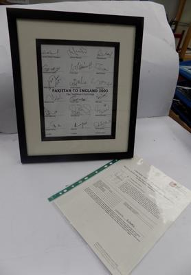 Pakistan cricket squad 2003 picture-signed & framed with certificate of authenticity