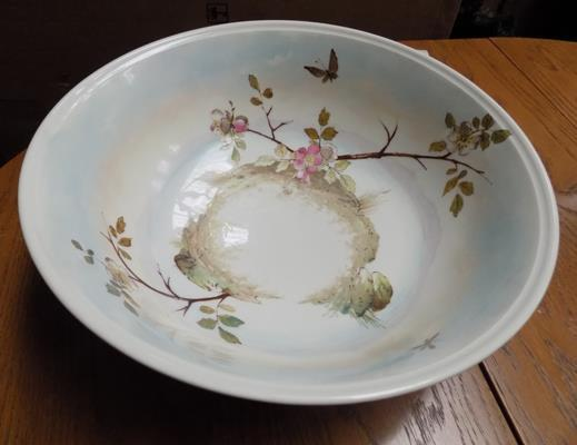 Large hand blown antique Japanese wash bowl with pearlescent decoration, circa 1850