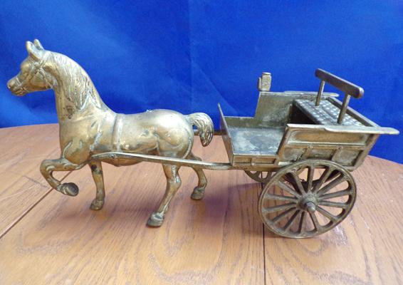 Large heavy vintage brass pony and trap