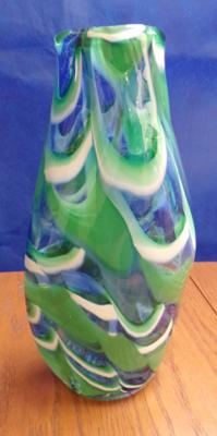 "Large Mdina glass swirl vase in blue and green and white. Approx 13"" tall"