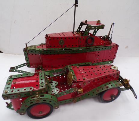 Meccano 1950's classic car and boat on trailer. Red and Green, playworn