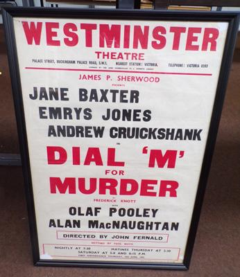 "Original 1950's theatre poster 'Dial M for Murder'. Framed 31"" x 21"""