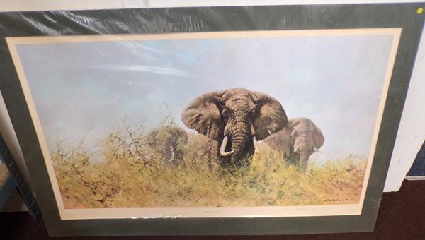 "David Shepherd CBE-FRSE Limited Edition signed print - 3 Happy Jumbo's. Size 28"" x 24"""