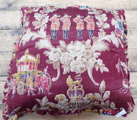 "Possibly cushion from Westminster Abbey in 1953 for the Coronation. 21"" x 21"""