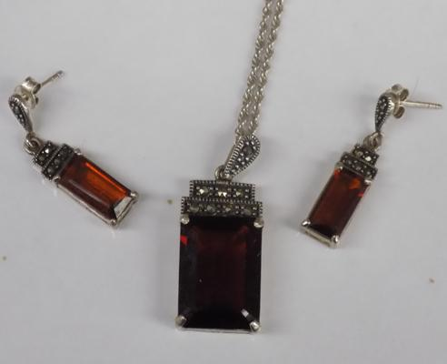 Silver & amber Art Deco necklace & earring set