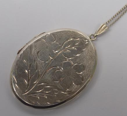 Large silver vintage locket and chain