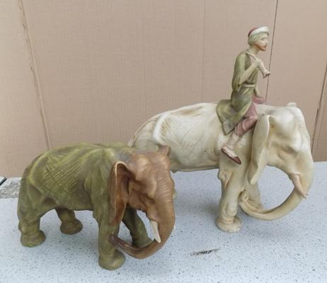 2 ceramic elephants (large one repaired)