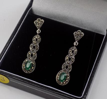 Pair of silver emerald & marcasite earrings