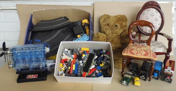 Box of vintage toys, incl. Scalextric set, 1970's Lego, dolls house furniture, toy engine etc... (diecast)