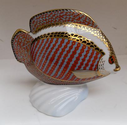 Royal Crown Derby tropical fish with gold stopper