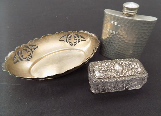 Silver topped trinket box, pewter hip flask & one other