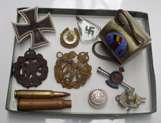 Selection of Military items inc badges, buttons, silver etc