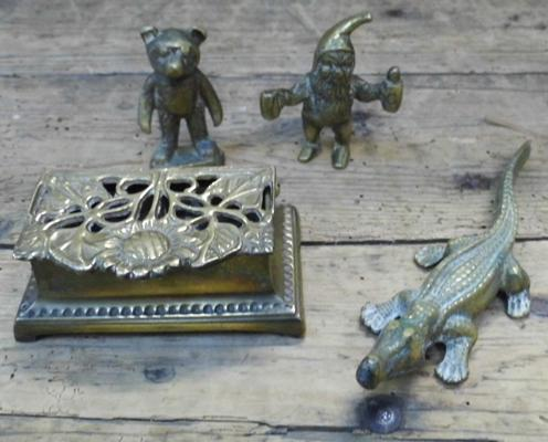 Selection of brass items, incl. animals & Victorian stamp box