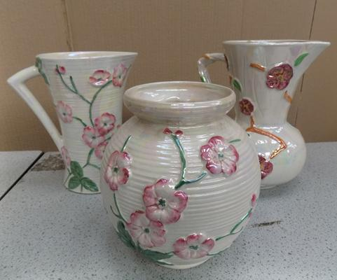 2 pieces of glazed Maling and Arthur Wood jug