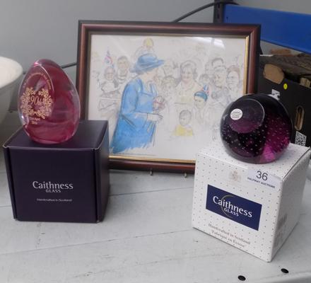 2 x Caithness glass paperweights in box + sketch by Michael Noakes