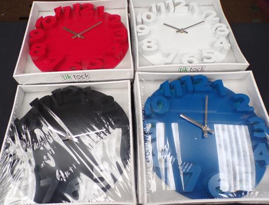 11 new clocks - red, blue, black and white faces