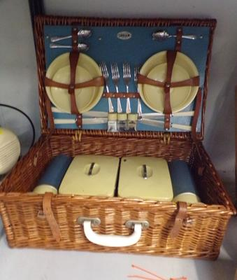 Vintage Sirram picnic wicker basket & full set of contents