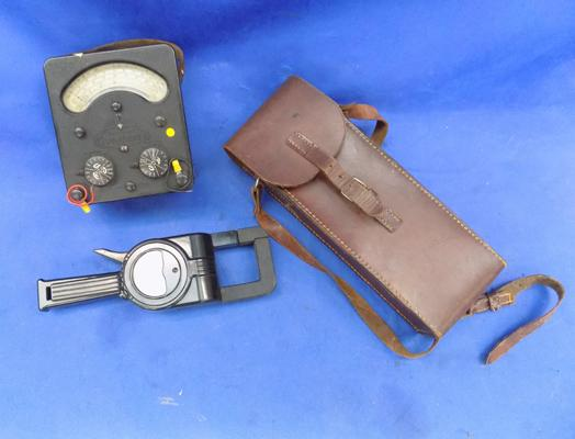 2x vintage electrical test meters - 1 in leather case