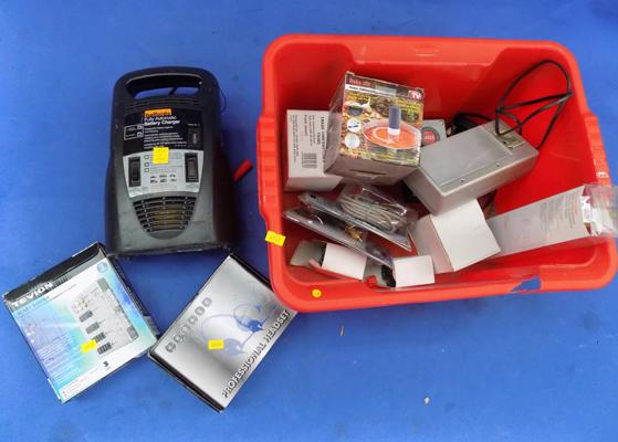 Box of mixed electrical's, many new incl. car battery charger