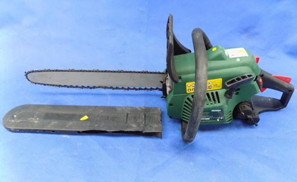 Qualcast petrol chainsaw and cover