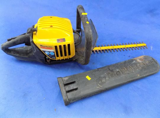 McCulloch petrol hedge trimmer and cover