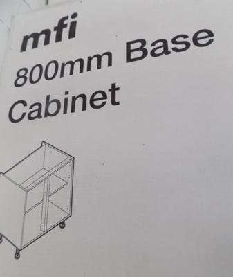 1x 800mm new boxed base cabinet carcass (more available at matching hammer price)