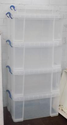 Four large 48 litre & one small 10 litre capacity, really Useful storage boxes