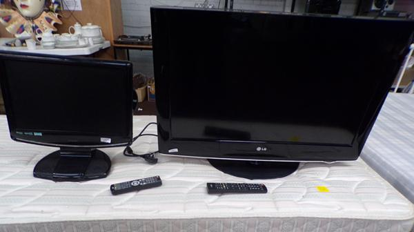 LG 32 inch flatscreen TV and remote W/O and Logix 17 inch TV with Freeview, remote and DVD W/O
