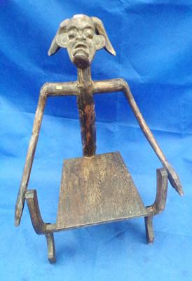 Carved African horned chair - possible Baule tribe