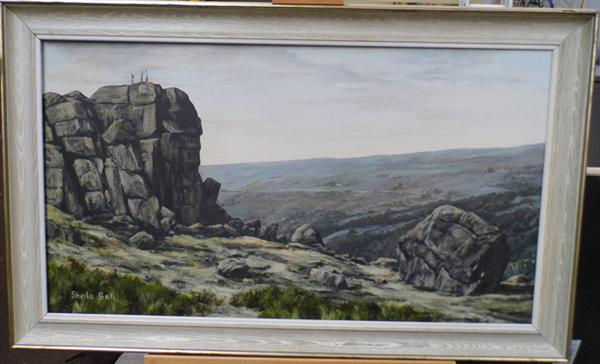 Oil on canvas of the  'Cow & Calf', signed by local artist Sheila Ball