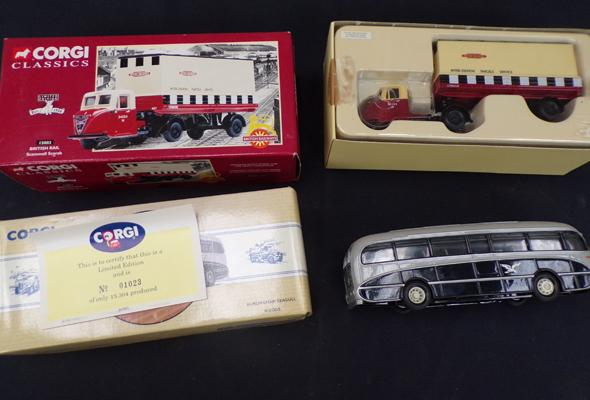 Boxed Corgi classic Brail Scamell Scarab and Corgi Birmingham seagull woods