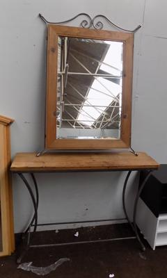 Industrial style mirror and metal and wood table set