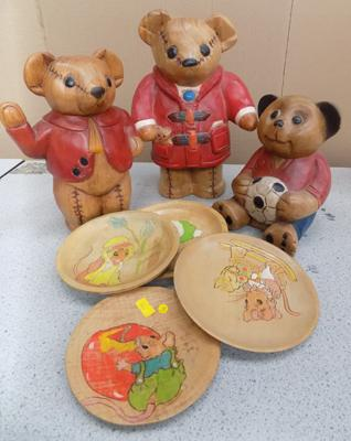 3 wooden carved teddies and hand painted wooden plates