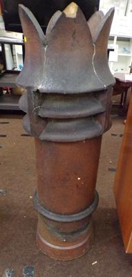 "Crown top chimney pot - 42"" tall, some damage"