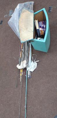 Fishing tackle in box inc rods, stools etc