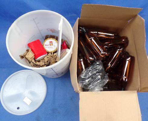 Home brewing kit with bottles etc